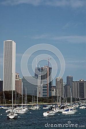 City skyline and marina