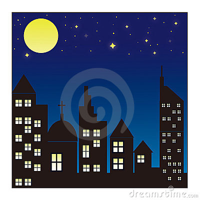 City skyline at night background