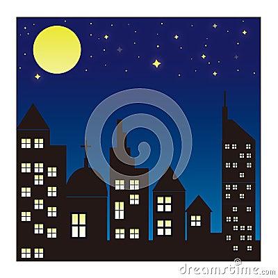 City skyline at night background