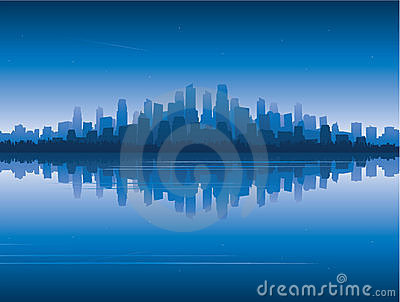 City skyline reflect on water