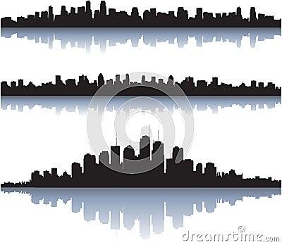 City skyline reflect on water