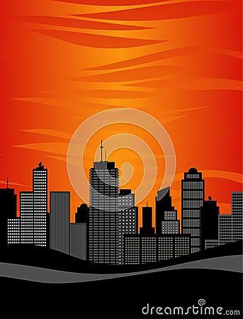 Free City Skyline Sunset Royalty Free Stock Photography - 3723257