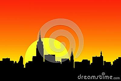 City skyline sunset view