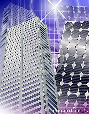 City and solar panels