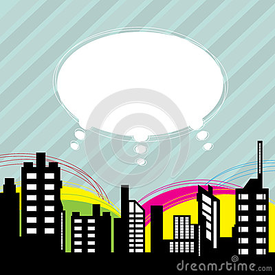 City with speech balloon