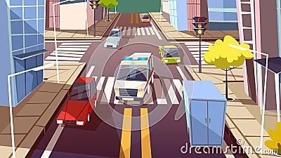 City street cars vector cartoon illustration of ambulance car driving on urban transport traffic lane Vector Illustration