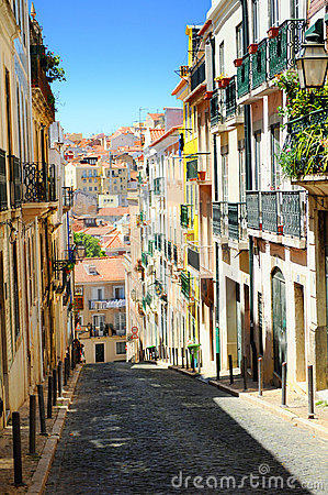 Free City Street In Lisbon Portugal Royalty Free Stock Photo - 9432905