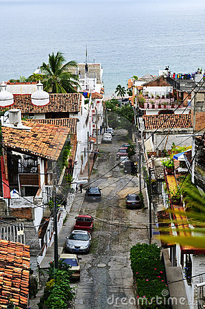 City street in Puerto Vallarta, Mexico