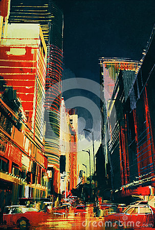 Free City Street With Office Buildings,illustration Stock Photos - 61282043