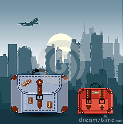 City with suitcases