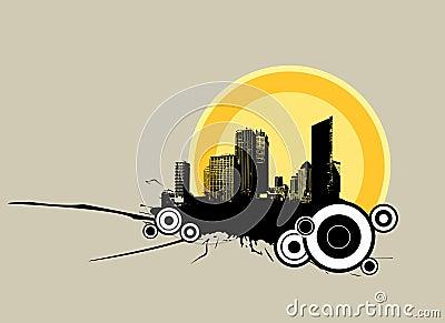 City in the sunrise. Vector art