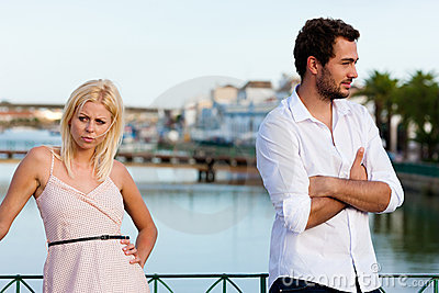 City tourism - couple in vacation having discussio
