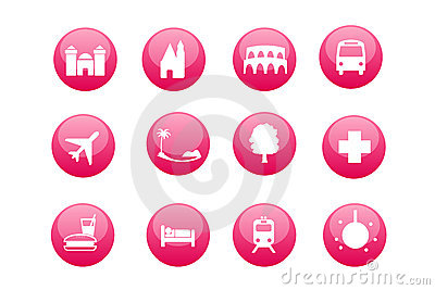 City and touristic map icons