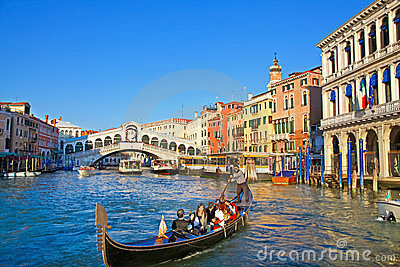 City traffic near to Rialto Bridge in Venice Editorial Photography
