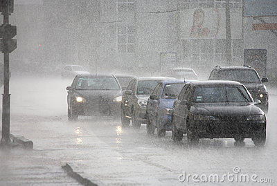 City traffic on the rain in Kharkov