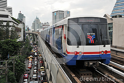 City Train on Elevated Rails Editorial Image