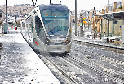 City train on the stop in Jerusalem Editorial Photo
