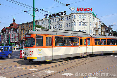 City tram in Poznan Editorial Photo