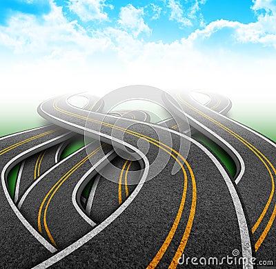 City Travel Roads in Clouds