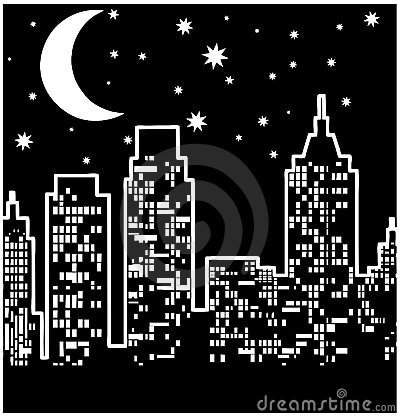 City view at night: Vector