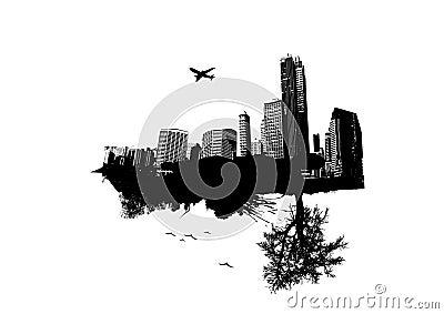 City vs Nature. Vector