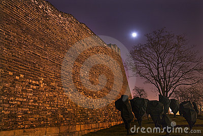 City Wall Moon Stars Night Beijing China