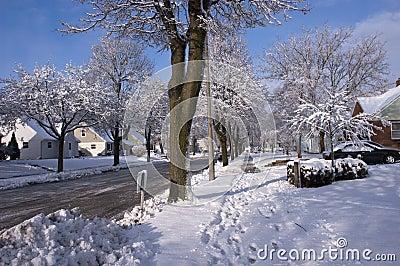 City in Winter, Houses, Homes, Neighborhood Snow