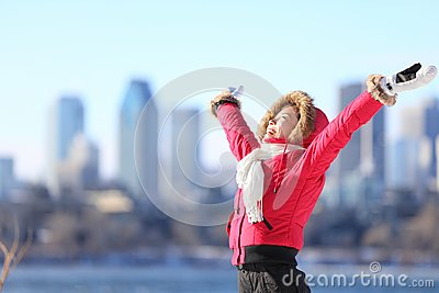 City winter woman happy