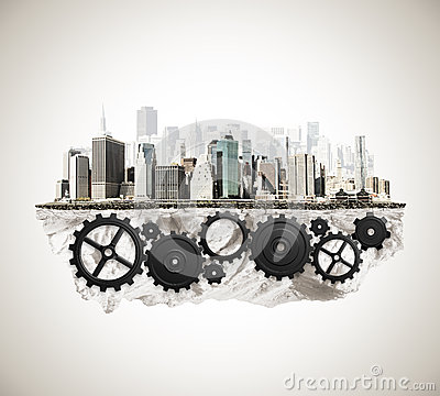 Free City With Cogwheel Mechanism Royalty Free Stock Images - 51129089