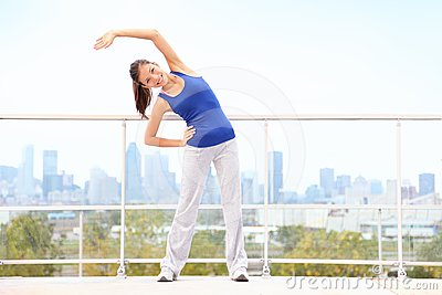 City workout woman stretching