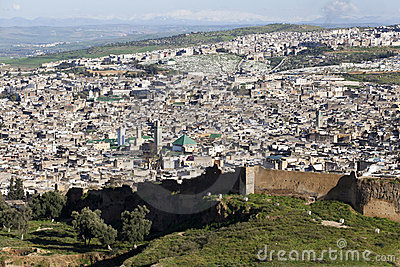 Cityline of Fes in Marocco