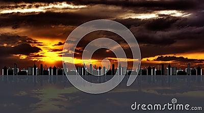 Cityscape against hdr sunset