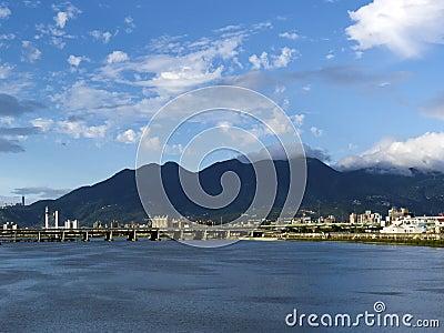 Cityscape along river