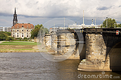 Cityscape with the Augustus Bridge over Elbe river in Dresden, G