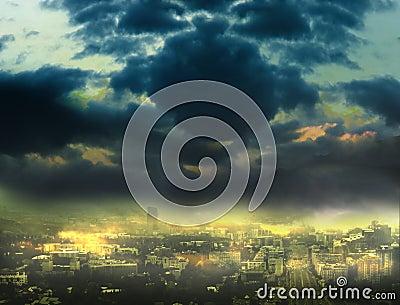 Cityscape background, night scene