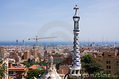 Cityscape Barcelona from Parc Guell