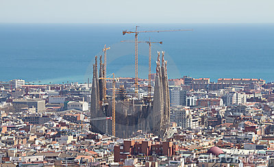 Cityscape of Barcelona with Sagrada Familia