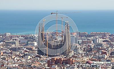 Cityscape of Barcelona with Sagrada Familia
