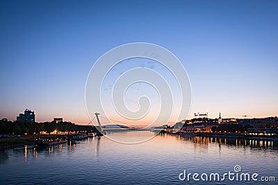 Cityscape of Bratislava at dusk, Slovakia Editorial Stock Image