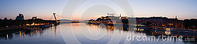 Cityscape of Bratislava at dusk, Slovakia Editorial Photo