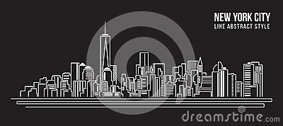 Cityscape Building Line art Vector Illustration design - new york city Vector Illustration
