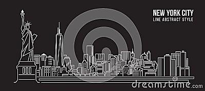 Cityscape Building Line art Vector Illustration design - new york city Vector Illustration