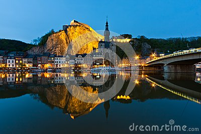 Cityscape of Dinant at the river Meuse, Belgium