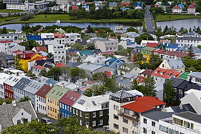 Cityscape of downtown Reykjavik, Iceland.