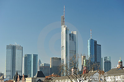 Cityscape of Frankfurt. Skyscrapers Editorial Photo