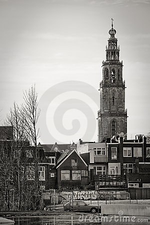 Cityscape of Groningen with the Martini tower