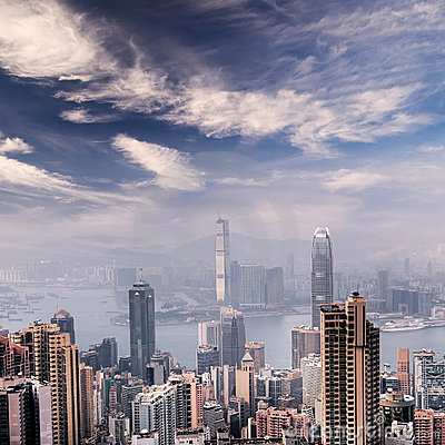 Cityscape of Hong Kong skyscrapers and skyline