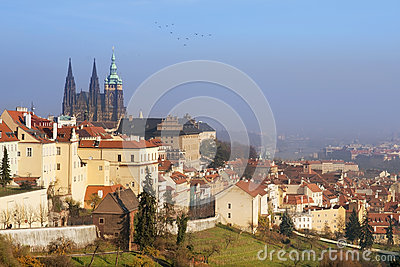 Cityscape of Hradcany with St. Vitus Cathedral, old Prague
