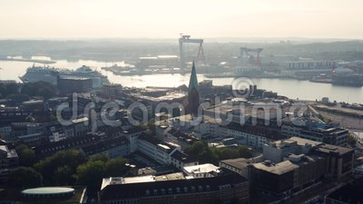 Cityscape of Kiel. The city in the northern part of Germany stock video footage