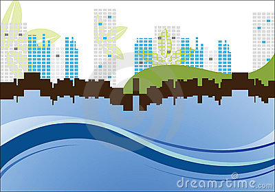 Cityscape with leaves and waves